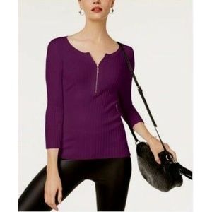 NWT INC Blackberry Jam Ribbed Top with Zipper $60